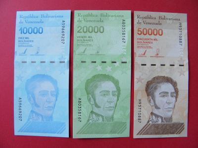 10+20+50.000 Bolivares 2019 Venezuela - úzký bezp.segm. - UNC -  /H245