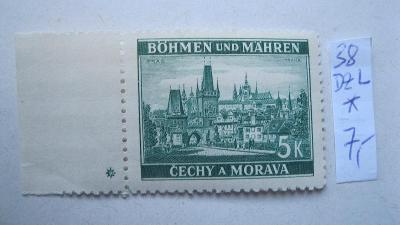 BuM - čistá známka katalogové číslo  38 s levou  DZ *