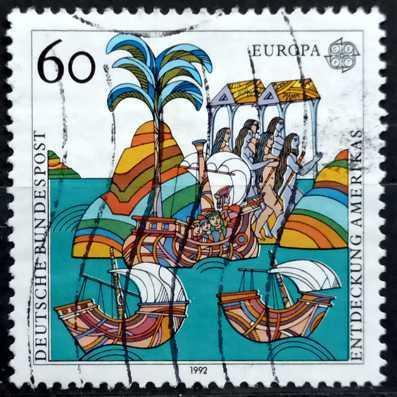 BUNDESPOST: MiNr.1608 Illustrating Letters from Columbus 60pf 1992