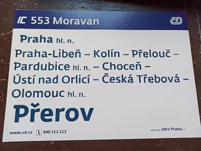 Směrová cedule IC 553/552 MORAVAN