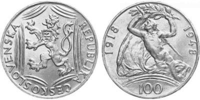 💥 stříbrná pamětní mince 100 Kčs 1948 - 30.výročí vzniku ČSR - TOP !