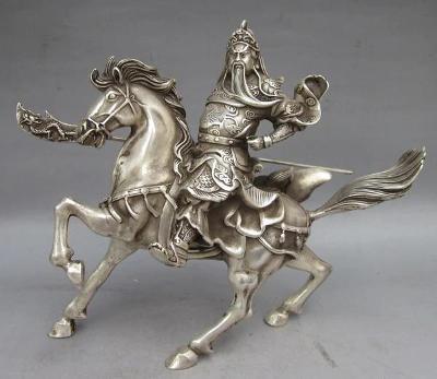 ČÍNA kůň socha soška Čínský Jezdec GUAN Dynastie MING 18cm bronz