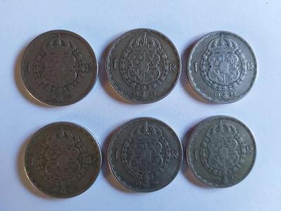 Švédsko 1 koruna, 1943,44,46,4748,50