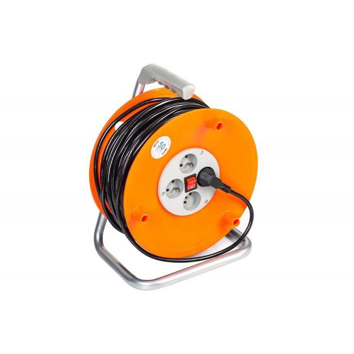 50m Prodlužovací kabel na bubnu prodlužovačka 4 zásuvky PM-PB-50-3-1.5 - Stavebniny