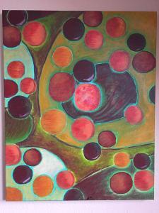 Planety - Abstraktní obraz na plátně - Originál - Akryl