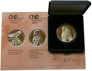 Stříbrná pamětní mince 200 Kč Josef Hlávka 2008 PROOF