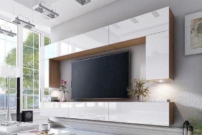 Obývací stěna Combo 2 Dub wotan / Bílý lesk