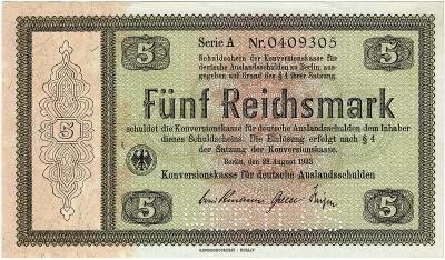5 MARK, 1933, série A!!!, velká vzácná bankovka, TOP STAV UNC !!!