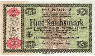 5 MARK, 1933, série E!!!, velká vzácná bankovka, TOP STAV UNC !!!