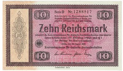 10 MARK, 1933, série D!!!, velká vzácná bankovka, TOP STAV UNC !!!