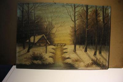 obraz- zima v lese nesign.
