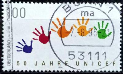 DEUTSCHLAND: MiNr.1869 Color Prints of Children's Hands 100pf 1996