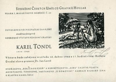 Karel Tondl: Souborná výstava původní grafiky - pozvánka (PODPIS) .