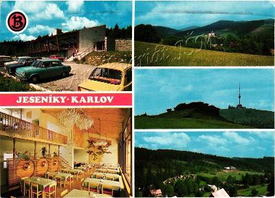 Bruntál Jeseníky K3318 Karlov Malá Morávka interiér staré Škodovky