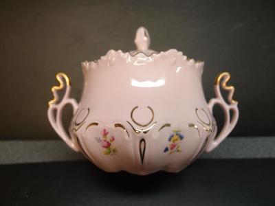 cukřenka s kvítky, růžový porcelán Chodov, top stav