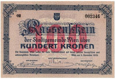 100 KRONEN 1918, RAKOUSKO, STAV aUNC !!!