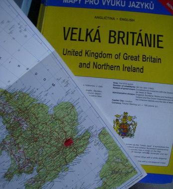 Velká Británie - angličtina - mapka pro výuku jazyků