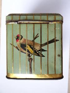Zajímavá cca 120-130 let stará plechovka s ptáčky, solidní stav