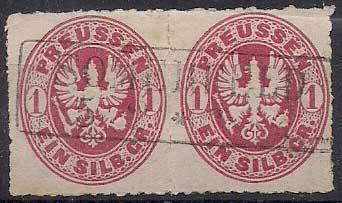 PREUSSEN ( Prusko ) Mi. 16 b, razítkovaná ! Dvojpáska Vysoký katalog !