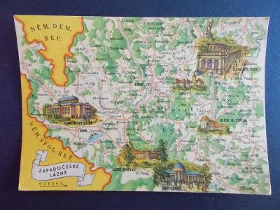 Putování po ČSSR Slavík mapka mapa Západočeské lázně Karlovy Vary Cheb