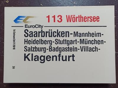 Směrová cedule DB - EC 113 WÖRTHERSEE