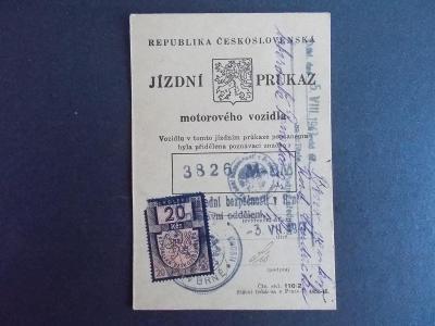Československo 1947 Jízdní průkaz Osvědčení Motocykl Jawa 175 rok 1937