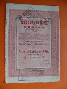 Akcie BELGIE BANQUE BELGE DU TRAVAIL Gent Belgická banka práce 1926