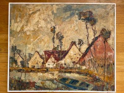 Krásně barevný impresionistický Bohuslav Tůma - Domky na hrázi, Hořice