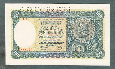 Slovensko 100 sk 1940 serie K6 perf. stav UNC