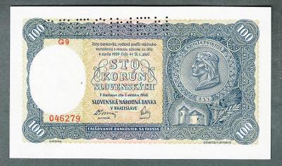 Slovensko 100 sk 1940 PRVNÍ VYDÁNÍ stav UNC