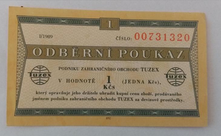1 TKčs-Tuzexová poukázka I/1989 - Bankovky