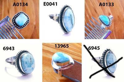 Stříbrný Prsten - 1ks - Larimar