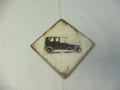 Dřevěná visačka  - více motivů aut