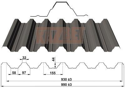 Trapézové střešní a stěnové plechy TP44 KAZBET od českého výrobce