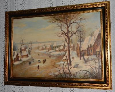 Zámecký obraz- Zasněžený venkov -olej na desce