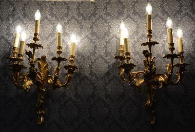 Zámecké bronzové svícny - Krásné, masivní