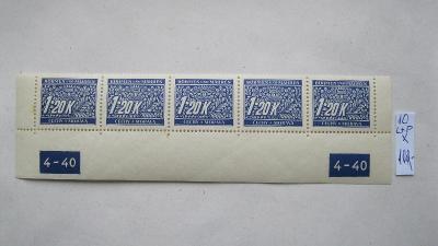 BuM - čistý dolní okraj doplatních známek s DZ  katalogové číslo  M 10