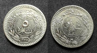 5 PARA Turecko 1909 (1327) - nikl KM#759 - Osmanská říše