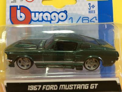 1967 FORD MUSTANG GT - Bburago 1/64 (L8-19)