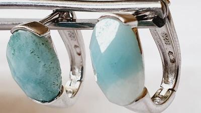 Ag stribro visací nausnice - přírodní modrozelené kameny č.6.rhodium