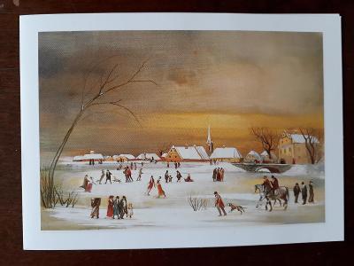 Přáníčko - zimní krajina, zimní radovánky