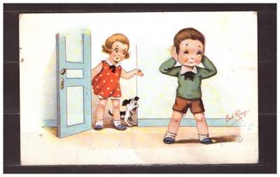 pohlednice staré-dětské-malý formát