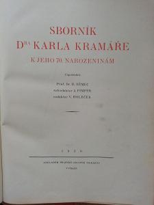 Kniha Sborník Dr. Karla Kramáře, z r. 1930