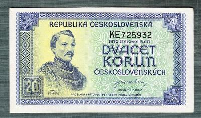 20 kčs 1945 serie KE NEPERFOROVANA stav 0