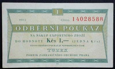1 Kčs Tuzex 1977 / I