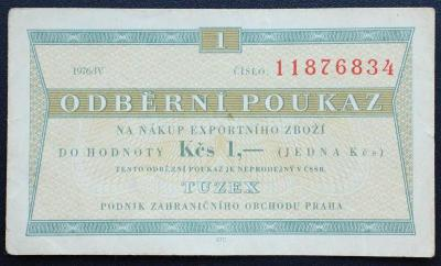 1 Kčs Tuzex 1976 / IV