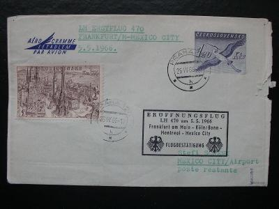 ČSR2, Aerogram CAE1D, 1966 prošlý Frankfurt-Mexico, dofr., KAT1400