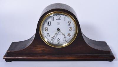 Stolní hodiny Junghans 8 denní chod, smaltovaný číselník!