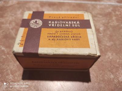 Retro Karlovarská vřídelní sůl Krabička s obsahem a návodem/1966 Rare!