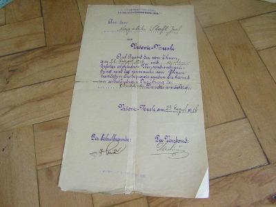Starý dokument z roku  1916